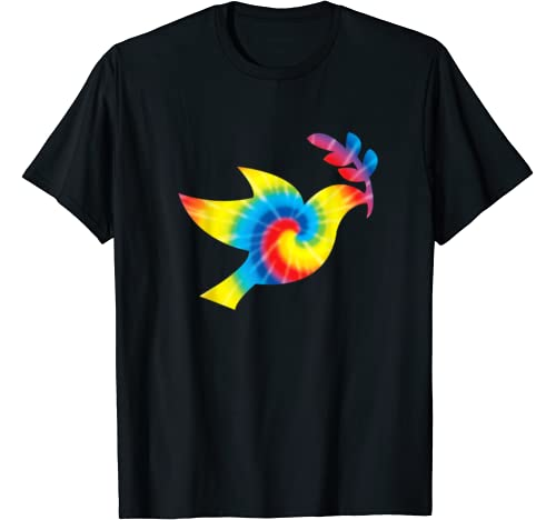 Tie Dye Dove Rainbow Print Pigeon Bird Hippie Peace Gift T Shirt