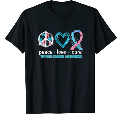 Peace Love Cure Thyroid Cancer Awareness T Shirt