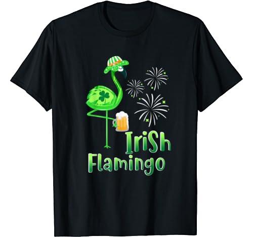 Flamingo Drinking Beer St Patricks Day Shirt Irish Shamrock T Shirt