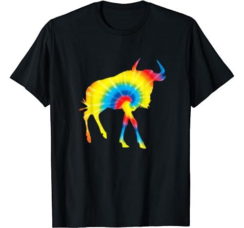 Tie Dye Gnu Rainbow Print Wildebeest Hippie Peace Gift T Shirt