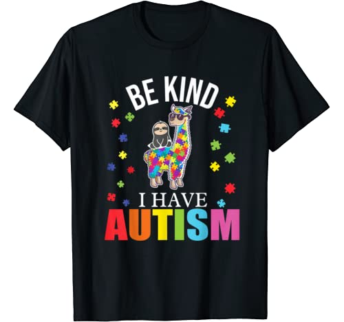 Be Kind I Have Autism Awareness Costume Sloth Llama T Shirt