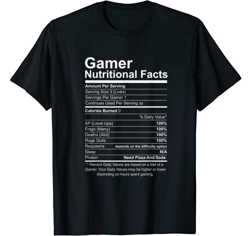 Gamer Nutritional Facts Video T Shirt product image