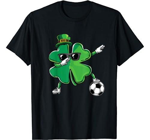 Funny Dabbing Shamrock Dab Soccer St Paddys Day Boys Gift T Shirt