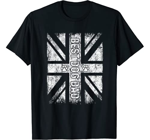 Vintage United Kingdom Flag Best Dog Dad Father's Day Gift T Shirt