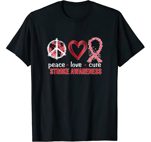Peace Love Cure Stroke Awareness T Shirt