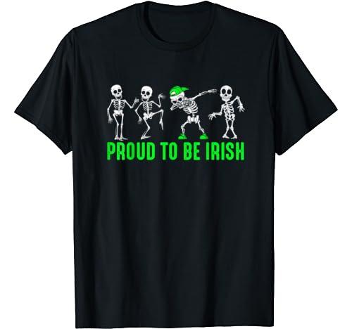 Proud To Be Irish Dabbing Skeleton Skull St. Patrick's Day T Shirt