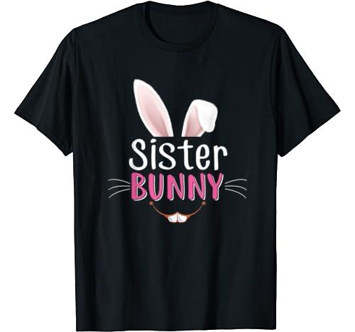 Sister Bunny Ears Face Matching Family Rabbit Easter Egg T Shirt