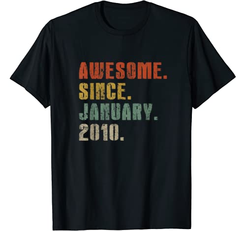 Mens Awesome Since January 2010 10th Birthday Gifts 10 Years Old T Shirt