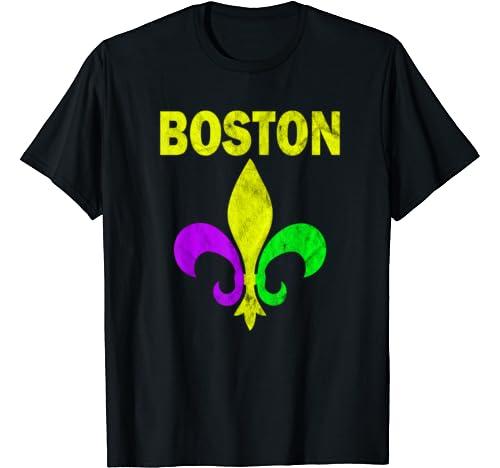 Boston Mardi Gras Fleur De Lis Carnival Costume Party Gift T Shirt