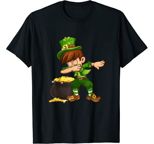 Dabbing Boys Leprechaun St Patricks Day Shamrock Gift Kids T Shirt