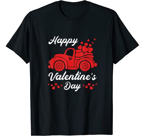 Happy Valentines Day | Red Truck With Hearts | Couples Gifts T Shirt