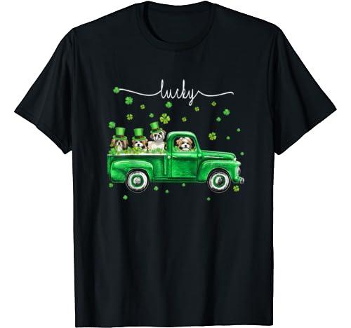 Lucky Shih Tzu Dog Shamrock St Patrick's Day Lover Gifts T Shirt