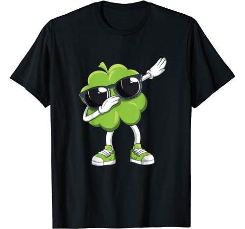 St Patrick's Day Dabbing Shamrock Funny Irish Boys Kids Dab T Shirt