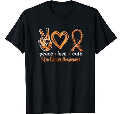Peace Love Cure Skin Cancer Awareness T Shirt