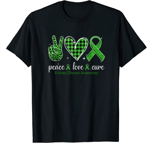 Hand Sign Peace Love Cure Kidney Disease Awareness Gift T Shirt