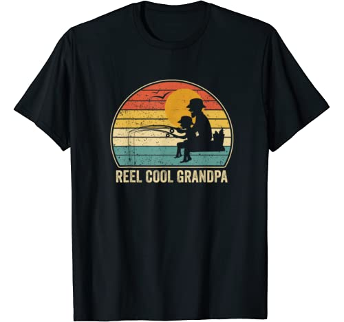 Men Reel Cool Grandpa Vintage Fisherman Father's Day Gift T Shirt