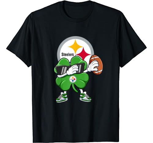 Dabbing Shamrock Football St Patricks Day Pittsburgh Steeler T Shirt