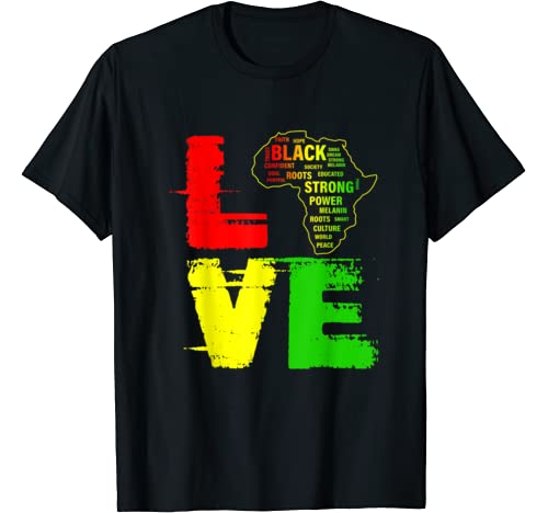 Love Africa Map Black  History Month Tshirt Men Women Kids T Shirt