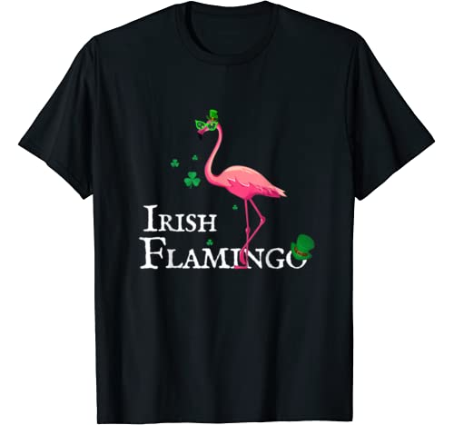Funky Irish Pink Flamingo Green Bird St Pattys Day T Shirt