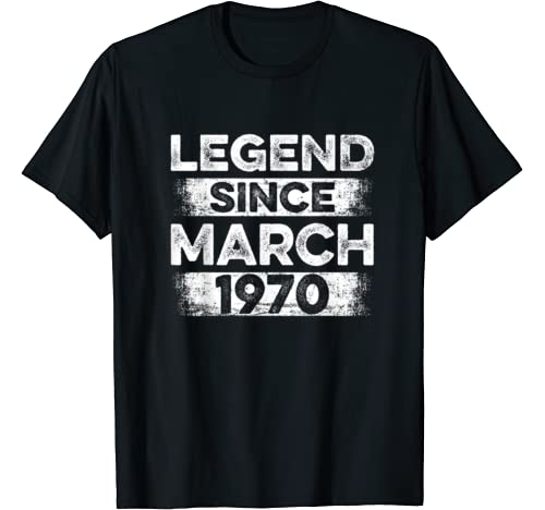 Vintage Legend Since March 1970 Bday Gifts 50th Birthday T Shirt