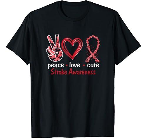 Peace Love Cure Stroke Awareness T Shirt
