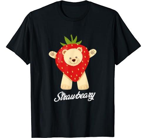 Strawbeary Strawberry Bear Berry Puns Valentine's Day Hug T Shirt