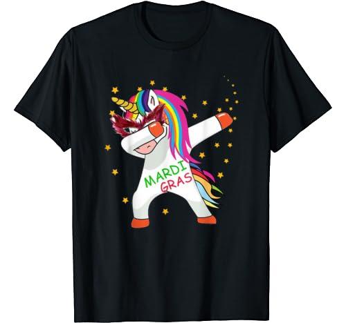 Dabbing Unicorn Mardi Gras Funny 2020 Costume Girl Kids Dab T Shirt
