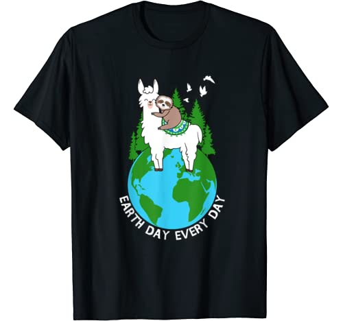 Earth Day Everyday Llama Sloth Cool Earth Day Lover Gift T Shirt