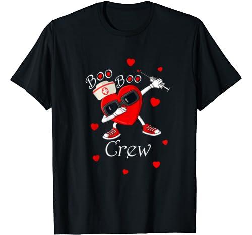 Funny Nurses Dabbing Heart Boo Boo Crew Valentine's Day T Shirt