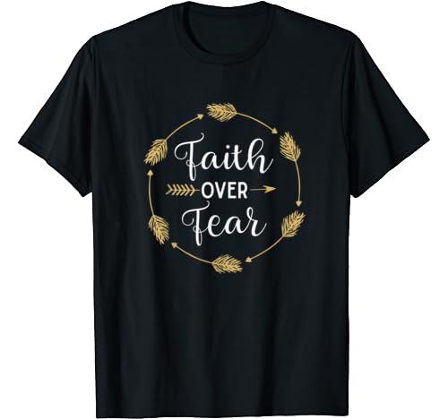 Faith Over Fear Cute Summer Letters Golden Arrow Supportive T Shirt