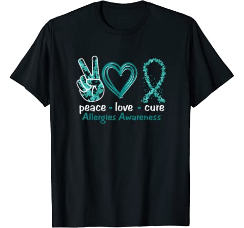 Peace Love Cure Allergies Awareness T Shirt