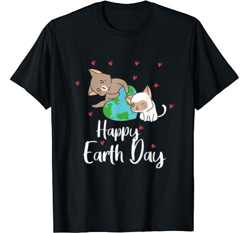 Cute Cats Heart Funny Happy Earth Day 2020 50th Anniversary T Shirt