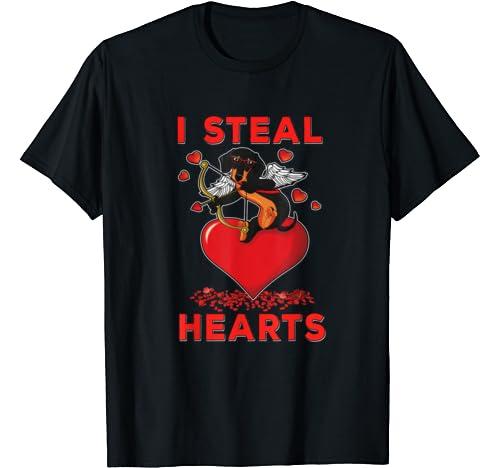 Valentines Dachshund Dog Cute Cupid Doxie I Steal Hearts Men T Shirt