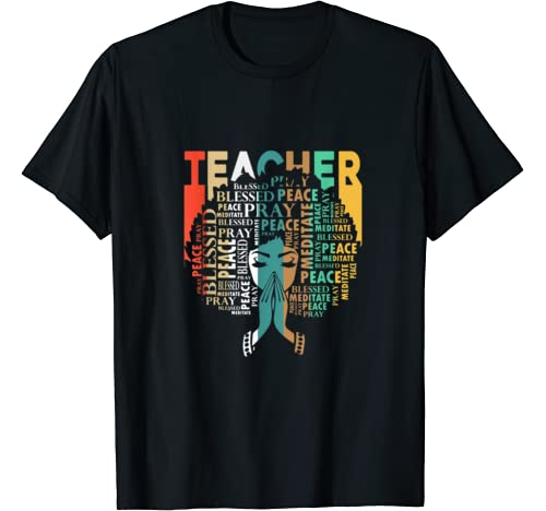 Natural Hair Afro For African Teachers Black History Month T Shirt
