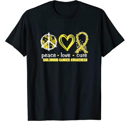 Peace Love Cure Childhood Cancer Awareness T Shirt