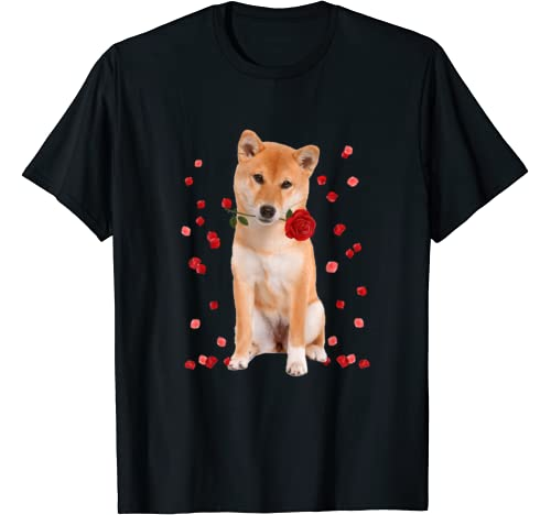 Shiba Inu With Rose Falling Cute Valentine's Day T Shirt