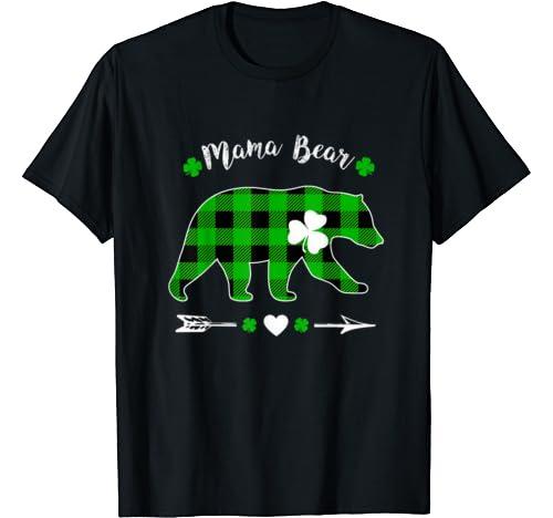 Mama Bear Green Shamrock Buffalo Plaid St.Patrick's Day T Shirt