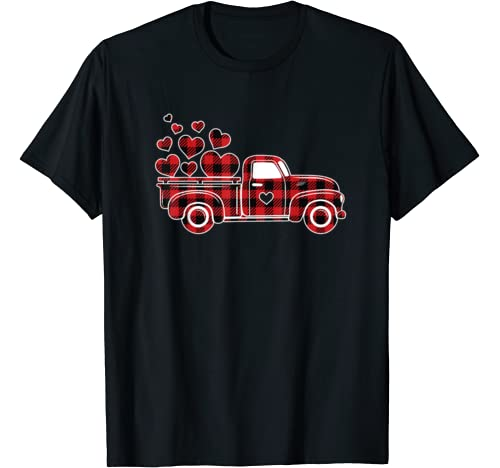 Red Plaid Truck With Hearts Valentine's Day Gifts For Women T Shirt