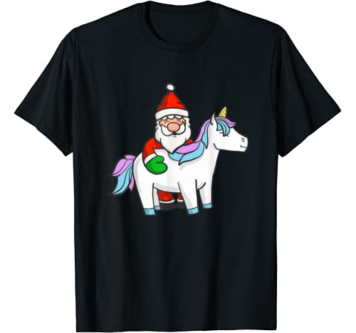 Funny Santa Magical Unicorn Lover Christmas Eve Celebration T Shirt