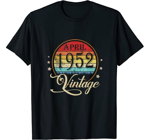 68th Birthday Gift Men Women Vintage Born In April 1952 T Shirt