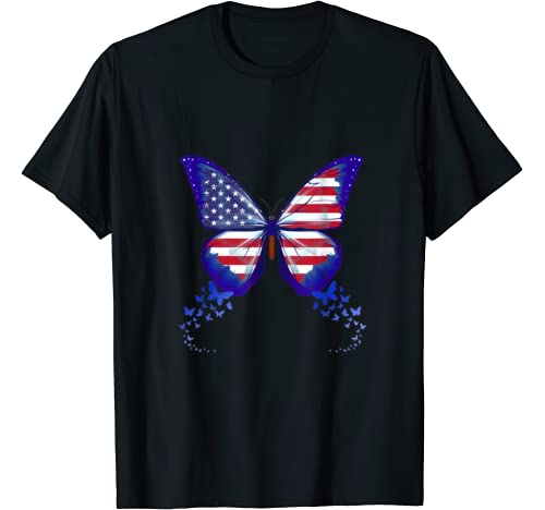 Butterfly Usa Flag Cute 4th Of July Funny American Girl Gift T Shirt