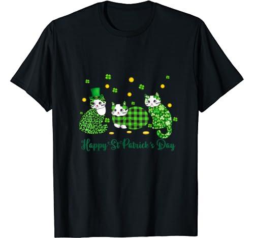 Happy St Patrick's Day Cats Shamrock Gift T Shirt