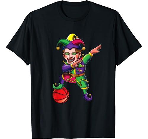 Dabbing Mardi Gras Jester Basketball Player Dab Costume T Shirt