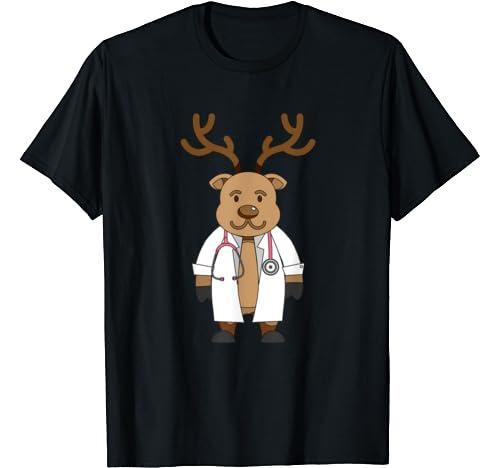 Funny Nurse Doctor Rudolph Reindeer Stethoscope Xmas Lover T Shirt