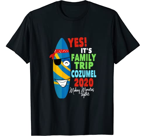 Family Vacation 2020 Cozumel Mexico Funny Pirate Surfboard T Shirt