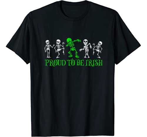 Proud To Be Irish Dabbing Skeleton Shamrock St. Patricks Day T Shirt