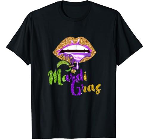 Mardi Gras 2020   Lip Biting Diamond Shining Festival Parade T Shirt