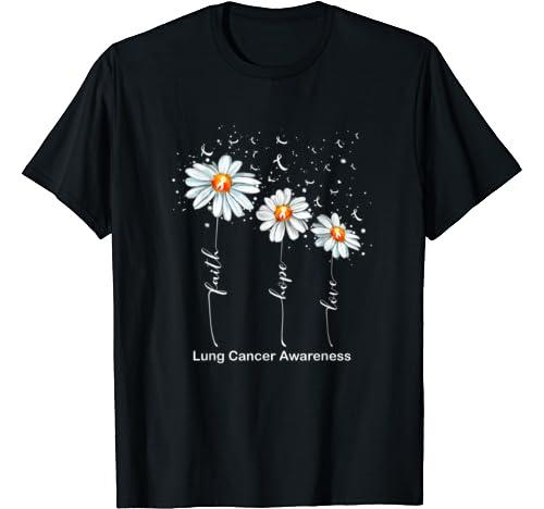 Faith Hope Love Daisy White Ribbon Lung Cancer Awareness T Shirt