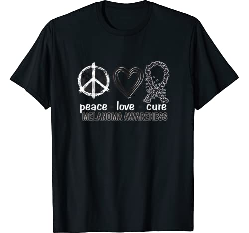 Peace Love Cure Melanoma Awareness T Shirt