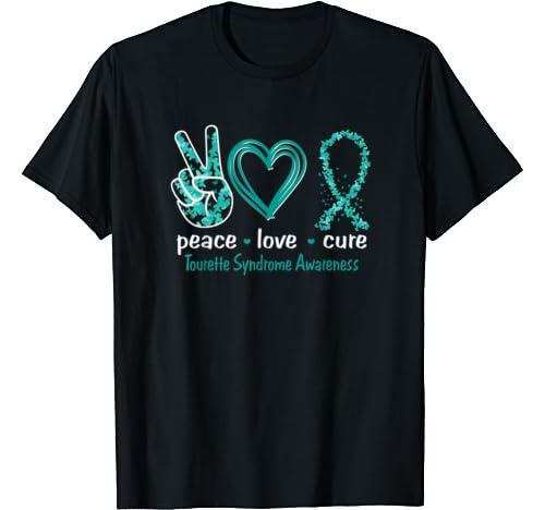 Peace Love Cure Tourette Syndrome Awareness T Shirt
